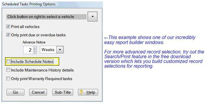report criteria panel for fleet maintenance software