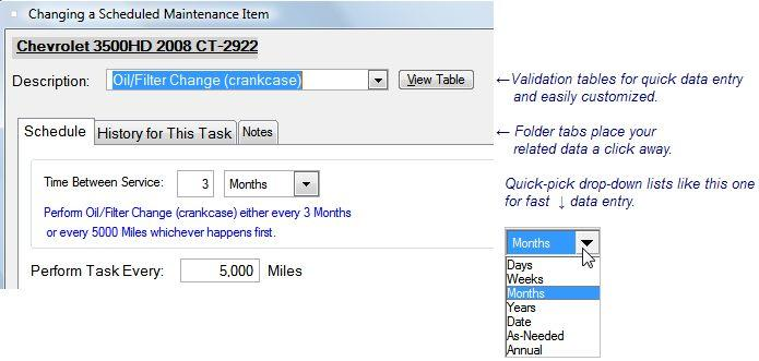 scheduling a preventive maintenance task